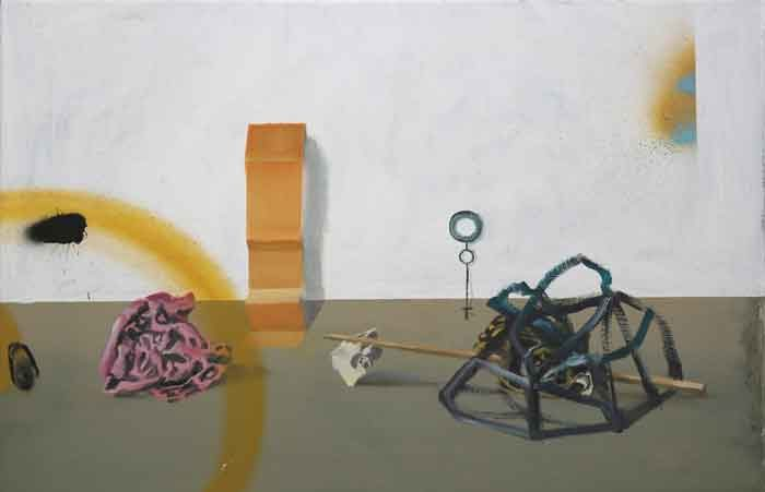 resent objects 1, 2016, oil and acryl spray on linen, 40x60cm, 15,7x23,6 in