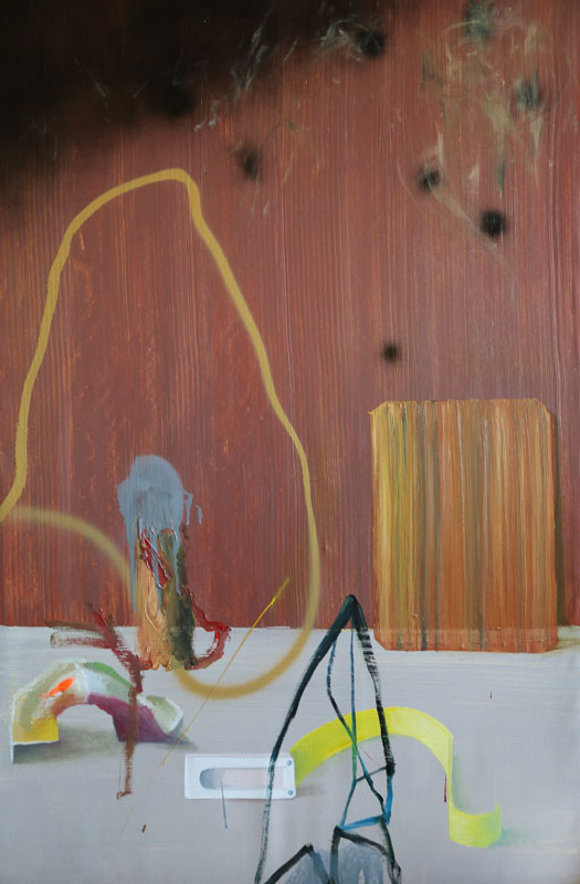 Present objects, 2016, oil and acrylic spray on canvas, 82x125cm, 32.2x49.2 in
