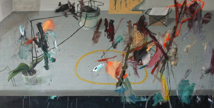 Grey floor, 2016, oil and acrylic spray on canvas, 100x200cm, 39.3x78.7 in
