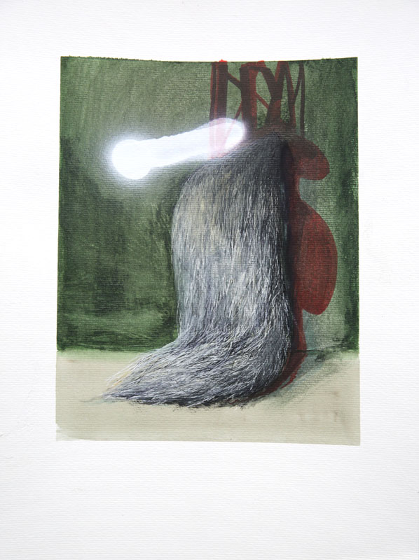 Fur, 2018, acrylic, liner, marker and spray on paper, 35,5 x 50 cm,13,9 x 19,6 in.