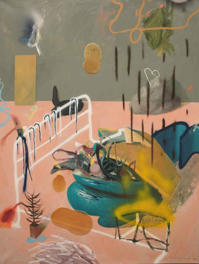 Pink floor with objects, 2018, oil acrylic spray and latex on linen, 150 x 200 cm, 59.0 x 78.7 in.